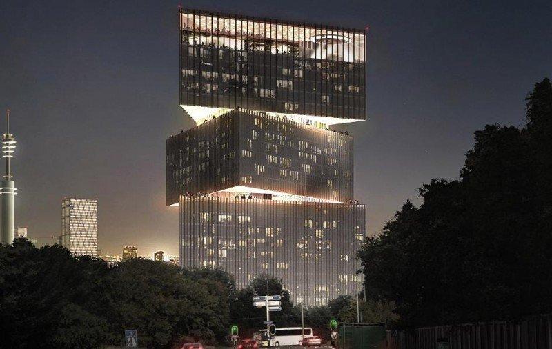 El diseño del nhow Amsterdam RAI se inspira en 'The Signal', un conocido objeto situado en la entrada principal del recinto. © OMA