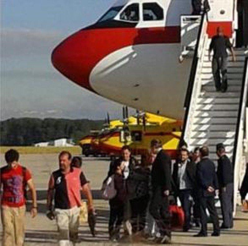 Llegada a Madrid del primer grupo de españoles que estaban en Nepal. Foto: Ministerio de Exteriores.