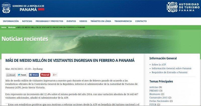 Publicación en la web de la Autoridad de Turismo de Panamá.