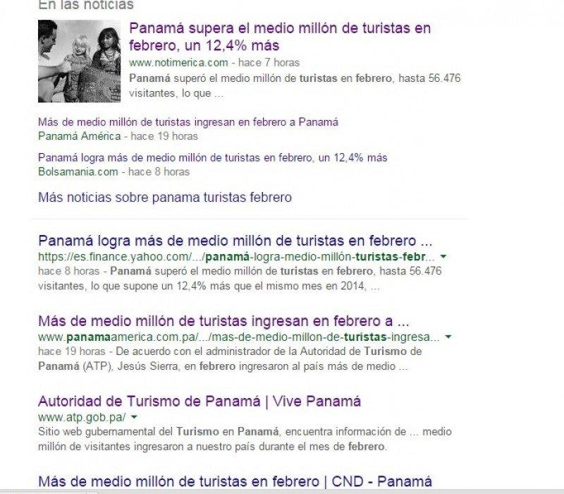 Búsqueda en Google -Panama turistas febrero- un rato después de hecha la corrección.