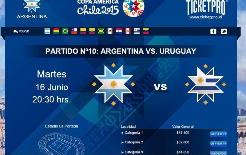 En la web oficial figuran como agotadas las entradas para los partidos de Uruguay frente a Paraguay y a Argentina.