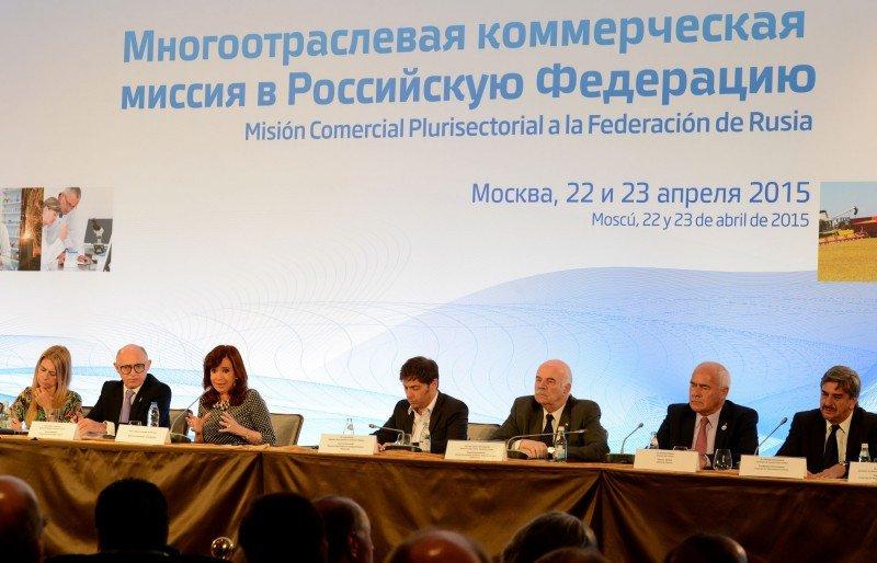La presidenta Cristina Fernández de Kichner visitó Rusia acompañada por ministros del gabinete.