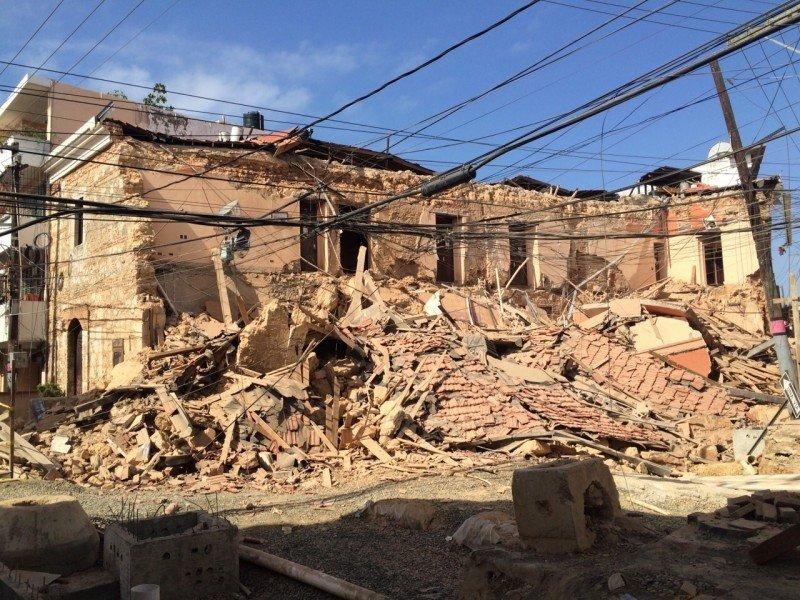 Imagen del hotel tras el derrumbe.