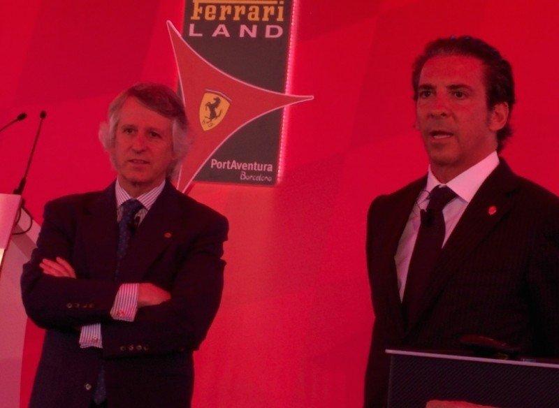 Arturo Mas-Sardá, presidente de PortAventura Resort, y Luis Herault, director general, ayer durante la presentación del proyecto Ferrari Land.