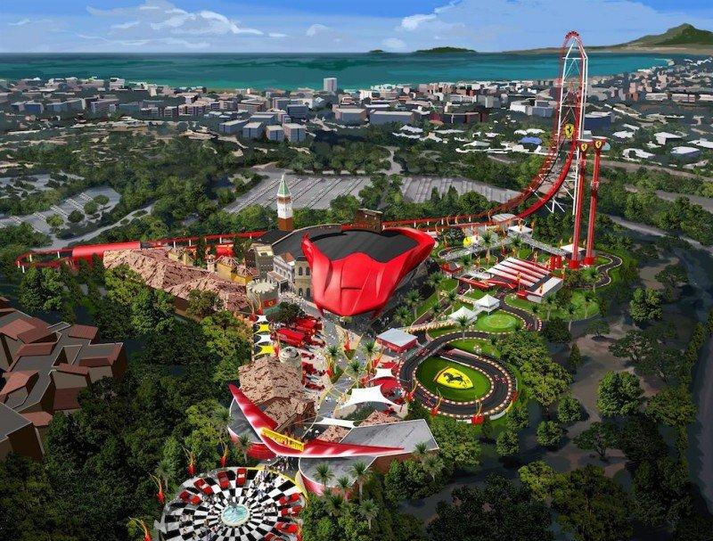 Recreación virtual que muestra el futuro aspecto de Ferrari Land en PortAventura.
