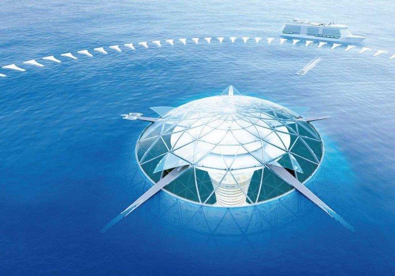 Una imagen que muestra cómo sería el 'techo' de la ciudad submarina Ocean Spiral.