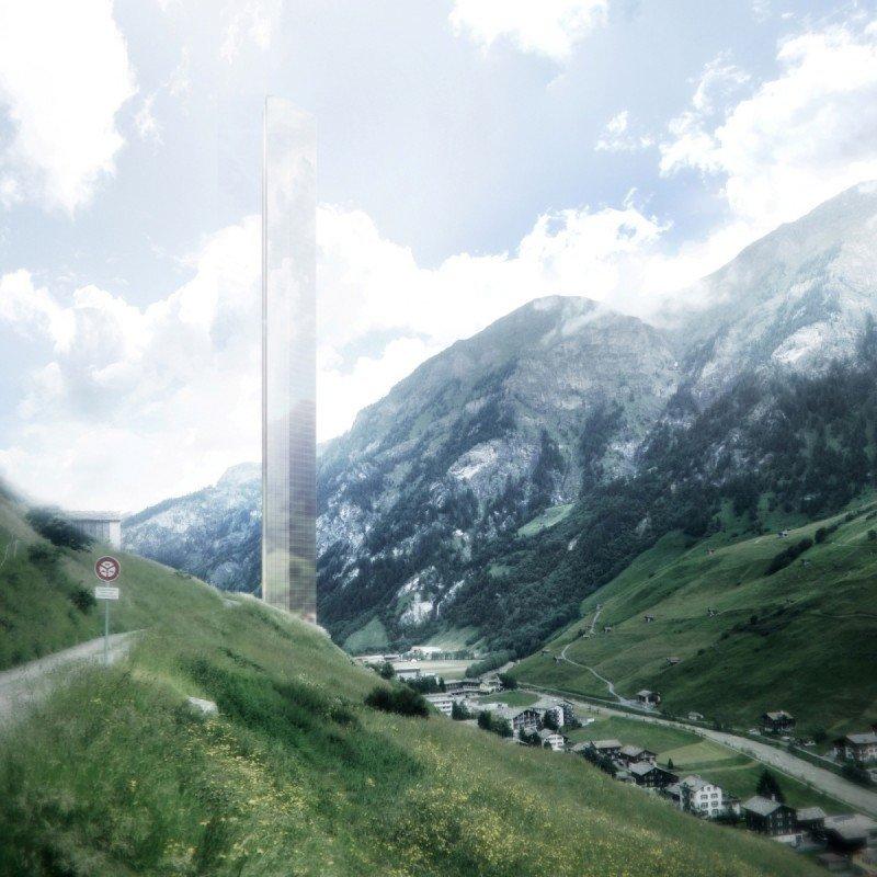 El diseño minimalista del hotel más alto del mundo, proyectado en los Alpes suizos, prevé que la estructura del edificio se difuminaría con el paisaje de la montaña, según sostienen los promotores del proyecto.