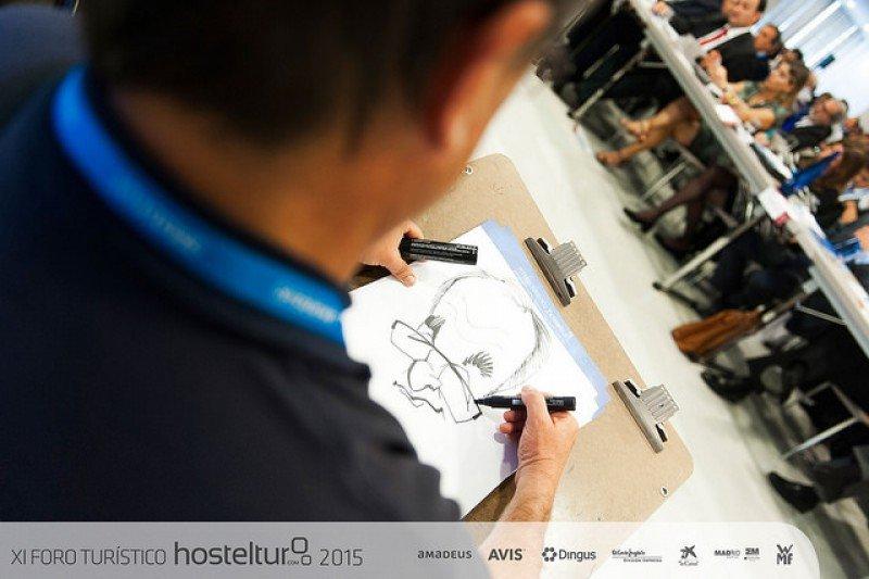 Un dibujante estuvo caricaturizando a muchos de los invitados y panelistas.