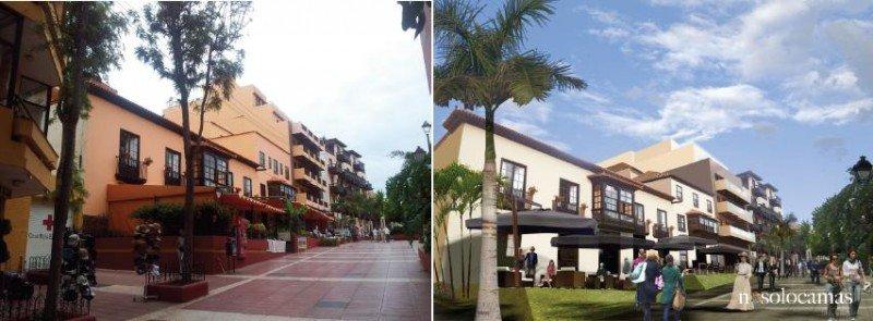 Antes y después de la modernización del hotel Marquesa, en Puerto de la Cruz, uno de los cinco que están desarrollando el proyecto.