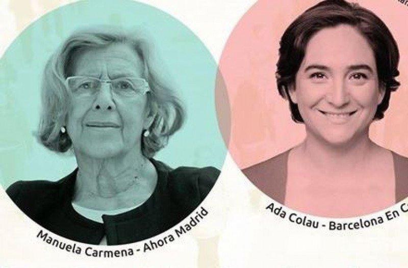 Imagen promocional de un acto electoral donde participaron Manuela Carmena y Ada Colau el pasado 6 de mayo.
