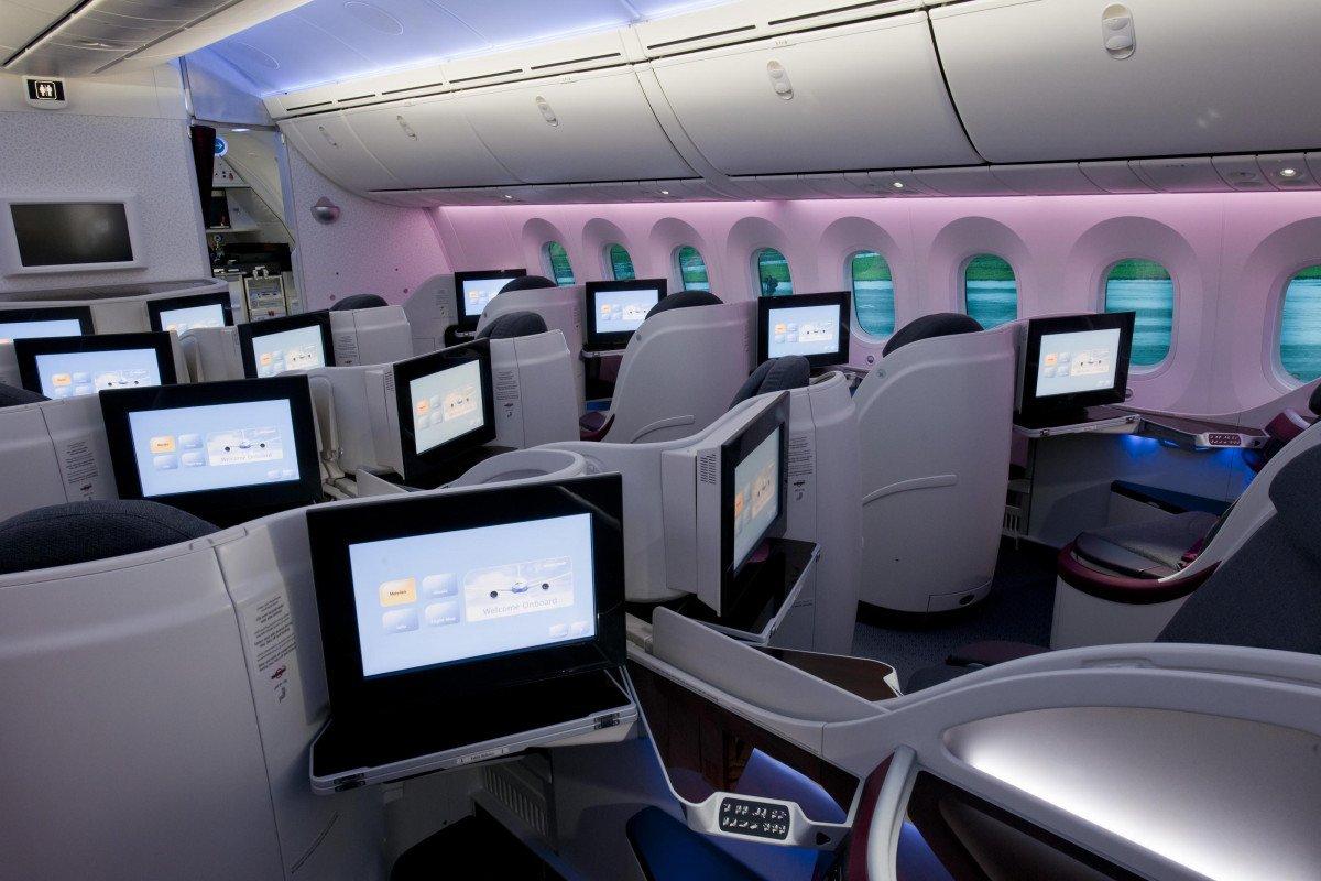 Los asientos de la clase business del Boeing 787 están equipados con un respaldo y un resposacabezas más anchos.