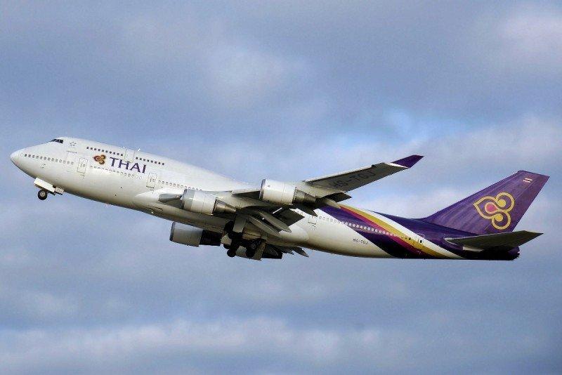 En la foto de archivo, uno de los Boeing 747-400 de Thai Airways.