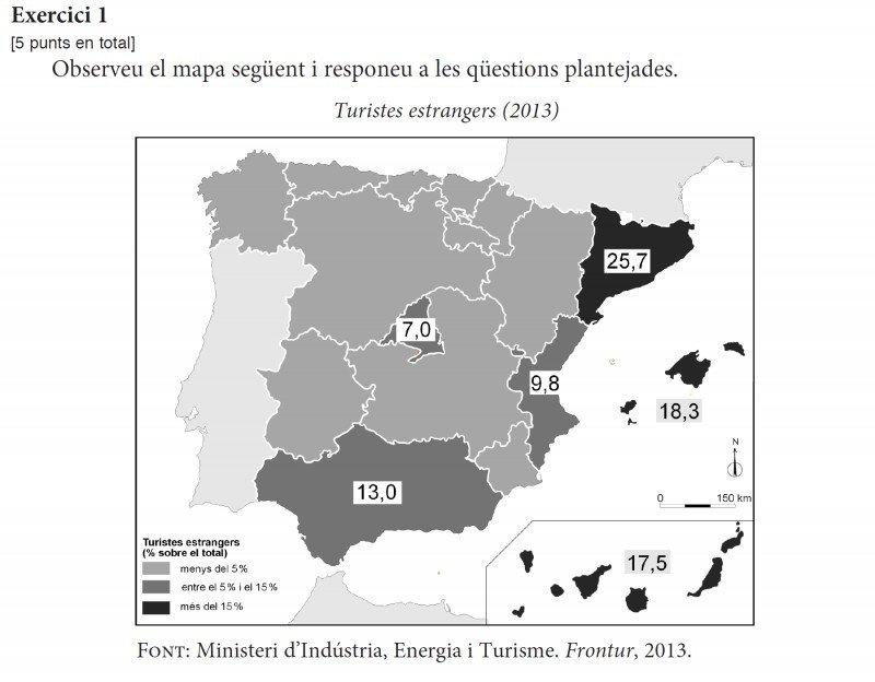 El mapa que ha entrado en los exámenes de Selectividad en Cataluña. CLICK PARA AMPLIAR IMAGEN.