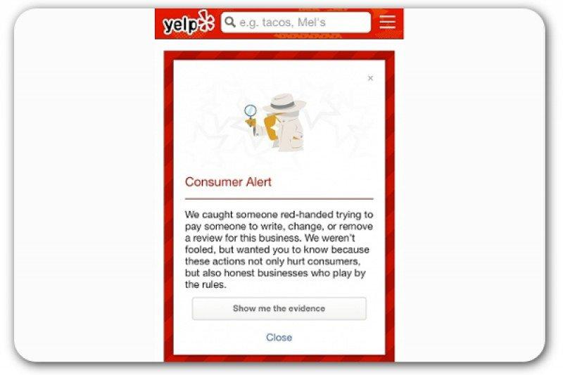 Alerta al consumidor de Yelp.