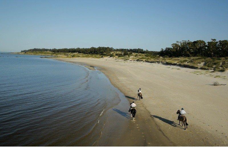 Cabalgata en la arena; combinación de playa y campo.
