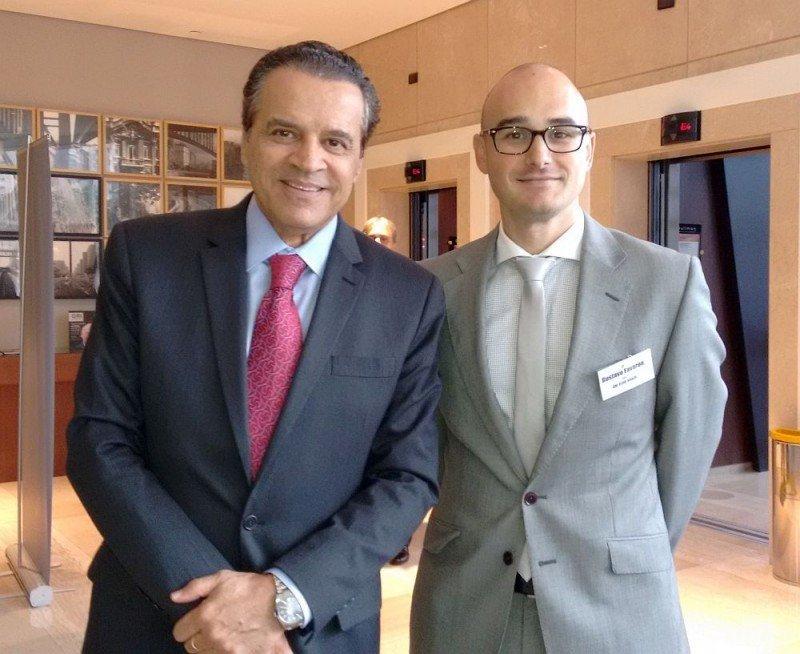Henrique Alves, ministro de Turismo de Brasil, y Gustavo Favaron, CEO de GRI Group