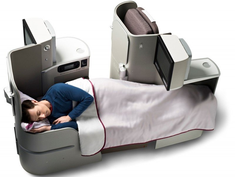 Asientos-cama de la cabina Business de Iberia.