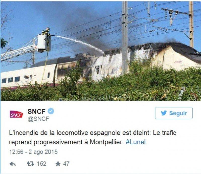 Evacuados 300 pasajeros de un AVE por un incendio