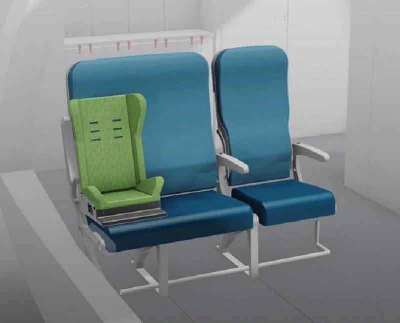El asiento SANTO permitirá mayor comodidad a pasajeros que viajan con niños o a los que tienen sobrepeso, mientras se aprovecha un especio perdido de la cabina.