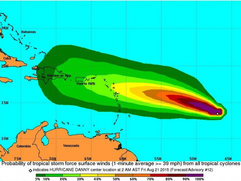 Probabilidad de vientos con fuerza de tormenta tropical. Imagen: National Hurricane Cencer. CLICK PARA AMPLIAR IMAGEN.