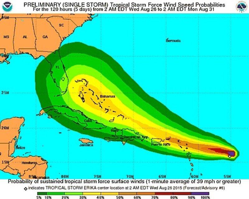 Trayectoria de Erika. Gráfico: National Hurricane Center. CLICK PARA AMPLIAR IMAGEN.