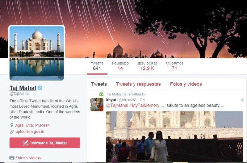Cuenta de Twitter del Taj Mahal.