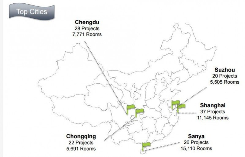 Cinco ciudades de China suman 133 hoteles proyectados.
