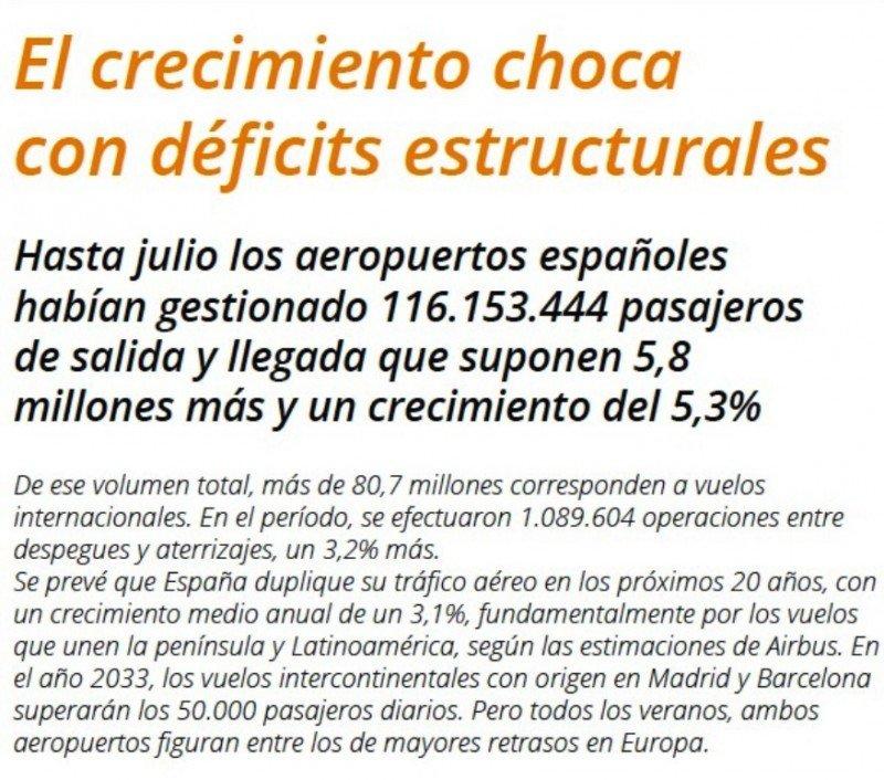 España presenta un déficit estructural de controladores aéreos que hace ineficiente su servicio de navegación aérea.