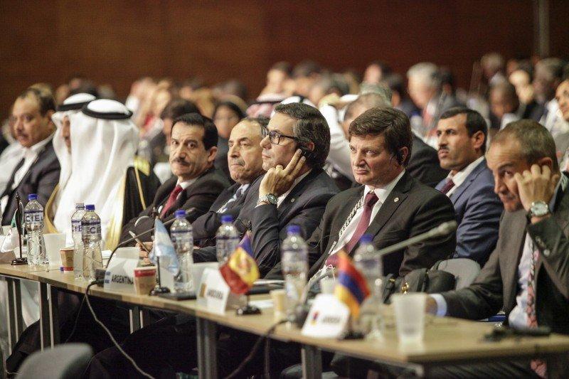 Una de las sesiones de la asamblea general de la Organización Mundial del Turismo que se celebra en Medellín, Colombia.