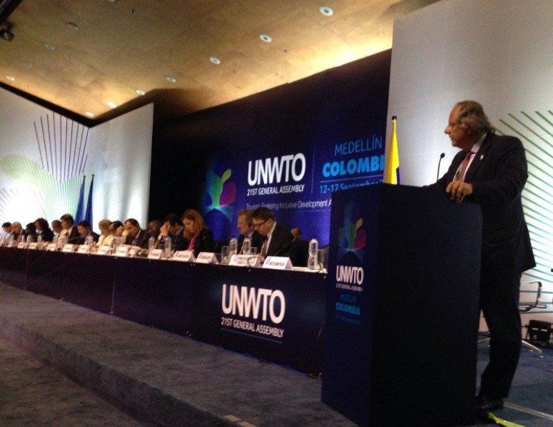 Intervención de Miguel Mirones en la Asamblea General de la OMT en Medellín, Colombia, la semana pasada.