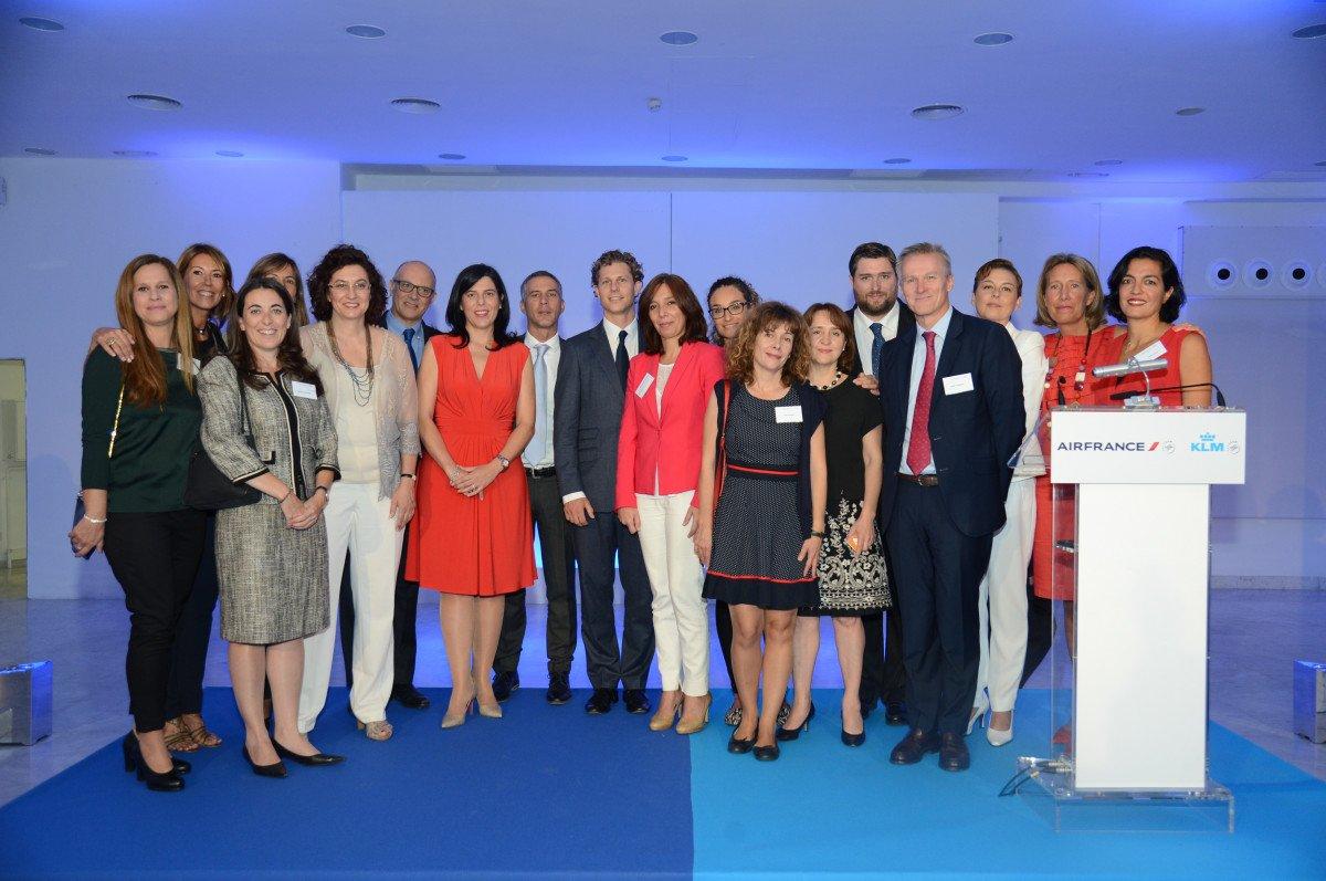 El equipo de Air France-KLM en España, con su director general al frente, Bruno Georgelin.