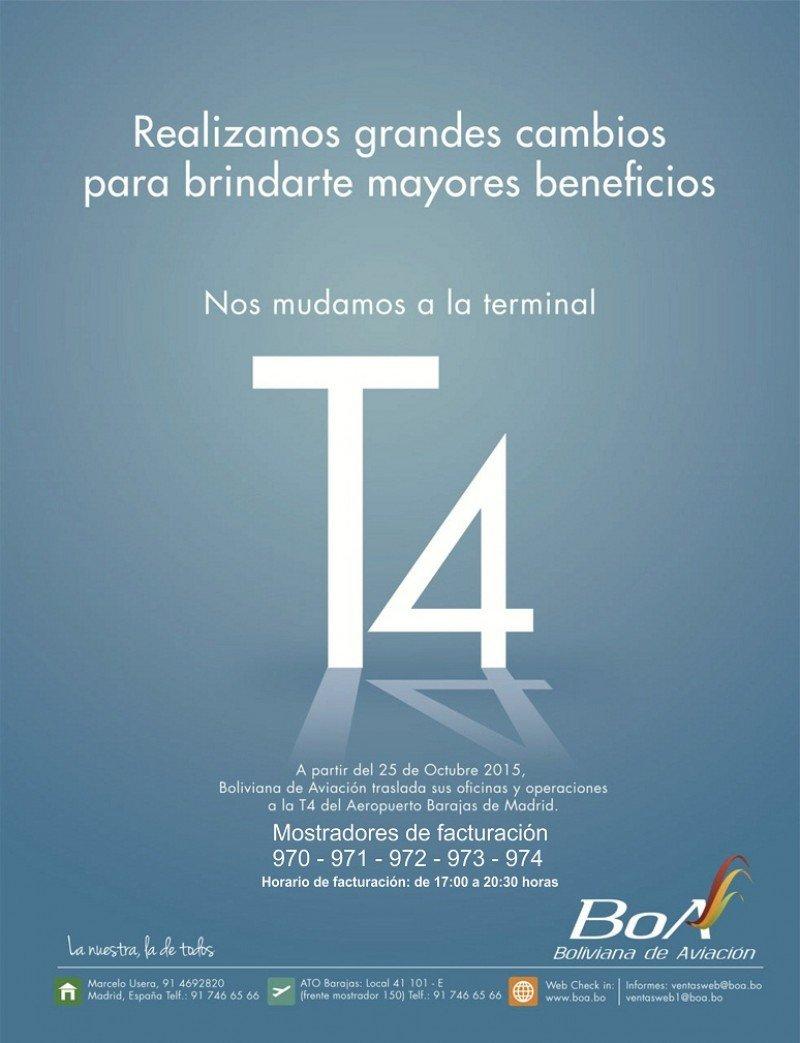 Boliviana de Aviación estará en la T4 de Madrid-Barajas a partir de este invierno