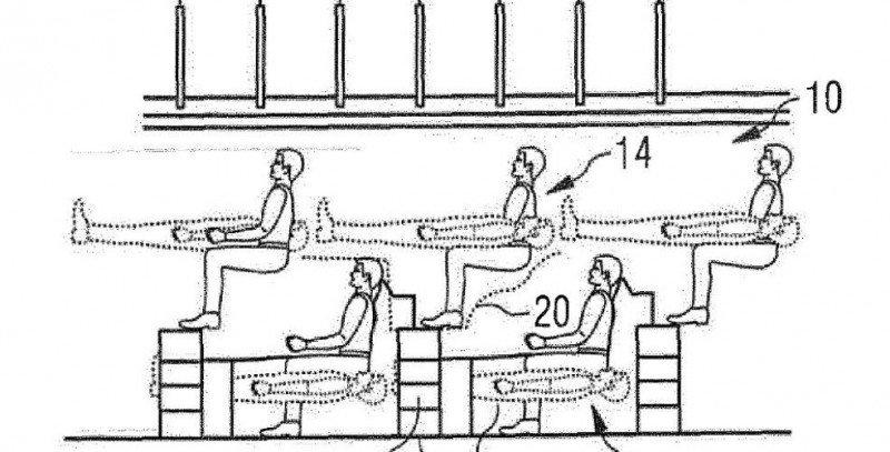 El nuevo diseño muestra una fila de asientos de pasajeros en una sola planta y otra fila por encima de sus cabezas.