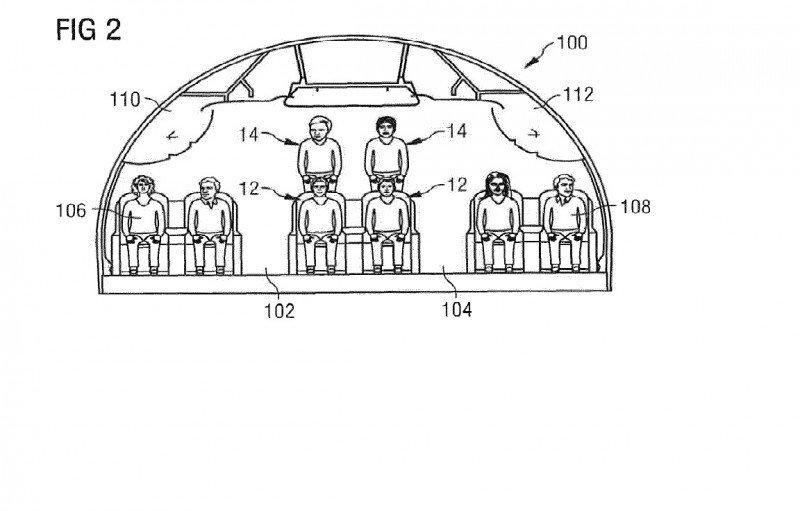 El objetivo de la propuesta es proporcionar un entresuelo o mezzanina para un área extra de asientos en un espacio superior del fuselaje de la aeronave sustancialmente no utilizado.