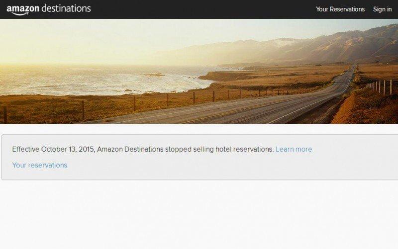 Pantalla con la que se encuentran los usuarios al intentar acceder a Amazon Destinations.