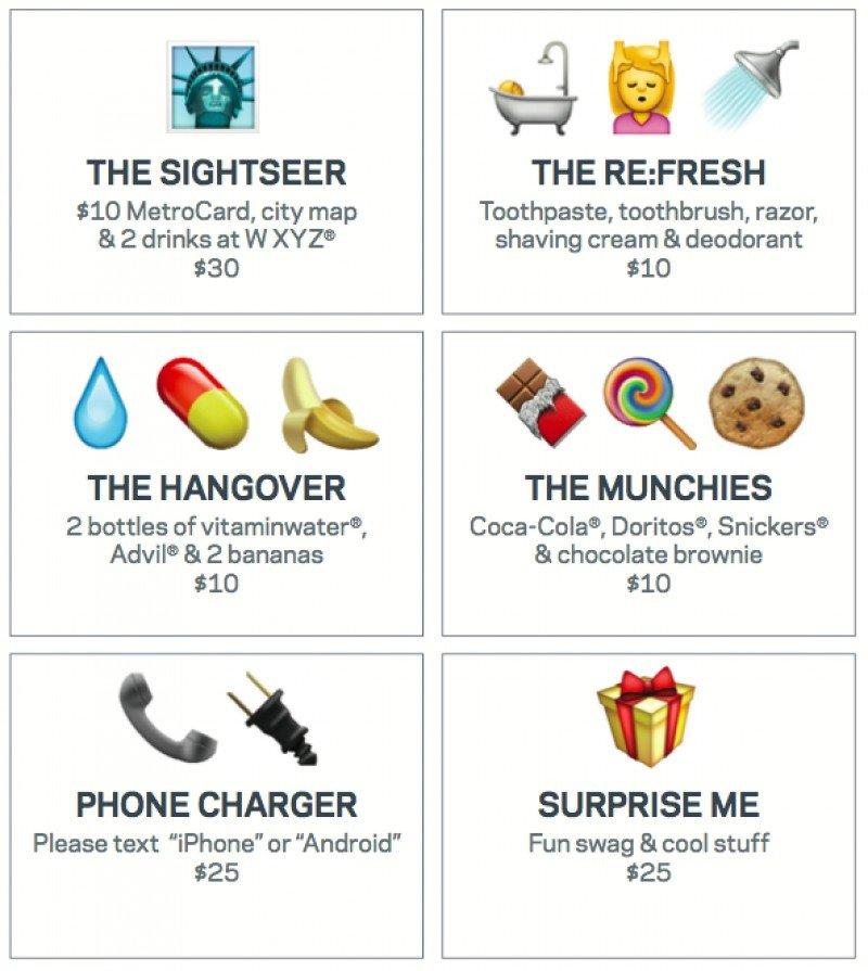 Menú de emoticonos para solicitar el servicio de habitaciones en el hotel Aloft Manhattan Downtown.