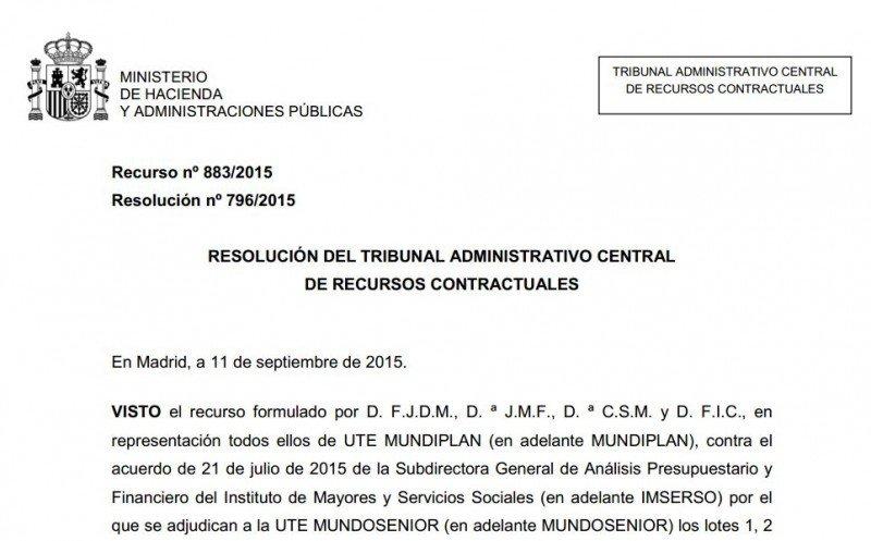 Resolución del TACRC del 11 de septiembre.