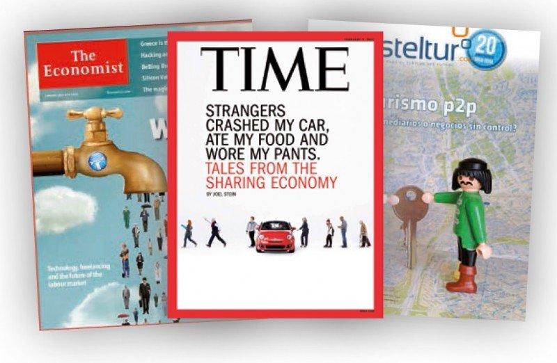 Portadas de revistas dedicadas al fenómeno de la economía compartida.