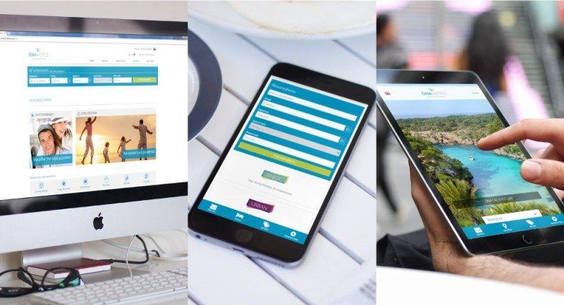 El diseño responsive de la nueva web de Onahotels se adapta a los distintos dispositivos.