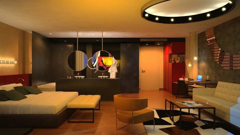 Una de las habitaciones del futuro Hard Rock Hotel Tenerife.
