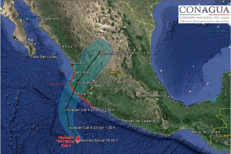 Trayectoria proyectada del huracán Patricia.