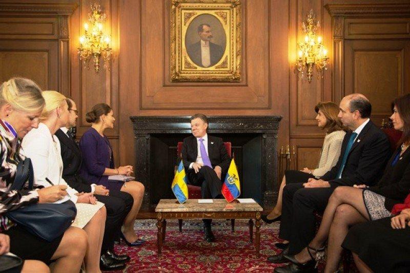 El presidente Santos recibió a la princesa Victoria y a la delegación de Suecia.