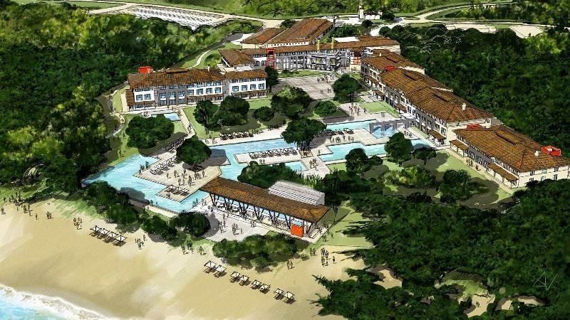 El proyecto original de 2013 mostraba un diseño de hacienda colonial con amplios espacios abiertos.