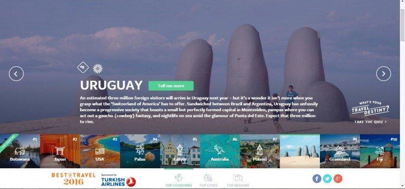 Uruguay se hizo un lugar en la lista Best in Travel 2016 de Lonely Planet.