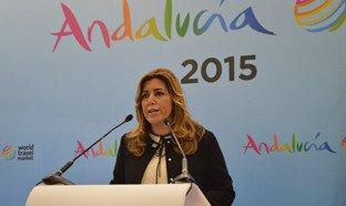 Susana Díaz, en el stand de la Junta de Andalucía en l WTM.