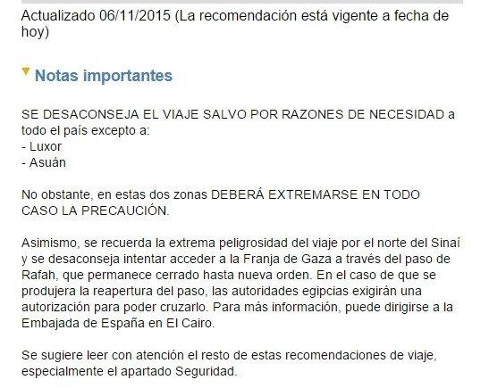 Nota de la web del Ministerio de Exteriores (maec.es)