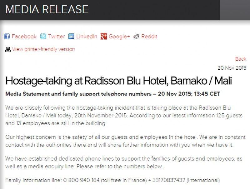 Al menos tres rehenes muertos en el ataque contra un Hotel Radisson en Mali