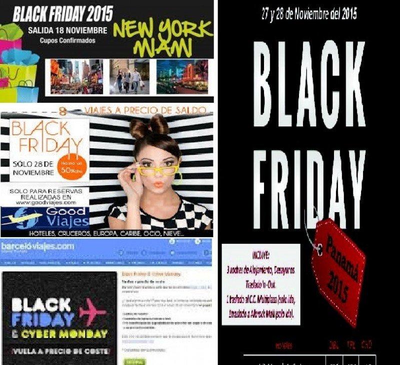 Imágenes promocionales de empresas turísticas para el Black Friday.