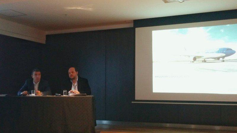 Fabián Lombardo (Gerente Comercial Aerolíneas Argentinas) y Pablo Ceriani (CEO Aerolíneas Argentinas).