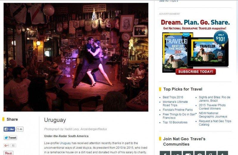Versión internacional en inglés donde Uruguay está en el Top 20 de destinos 2016.